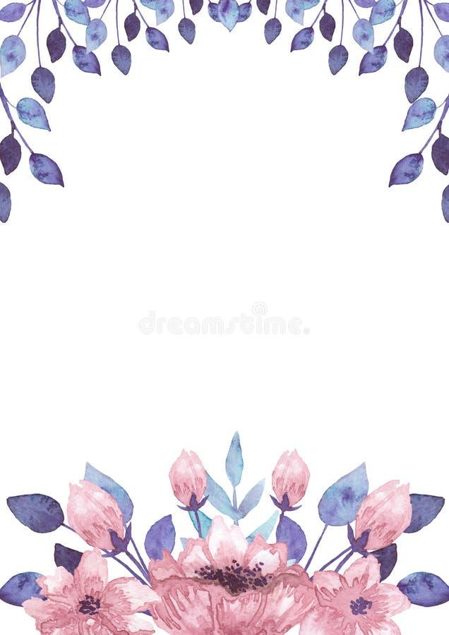 Rahmen Mit Aquarell-Rosa-Blumen Und Blau-Blättern Stock Abbildung ...