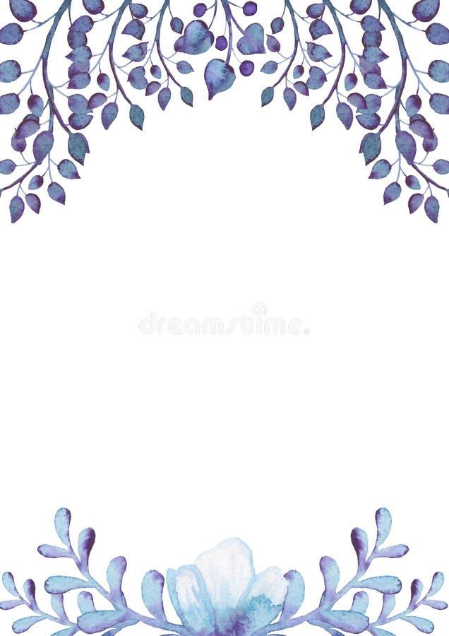 Rahmen Mit Dem Aquarell Hellblau Und Violet Flowers Stock Abbildung ...