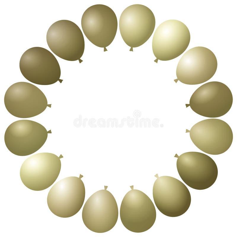Rahmen-Partei-goldene Ballone stock abbildung