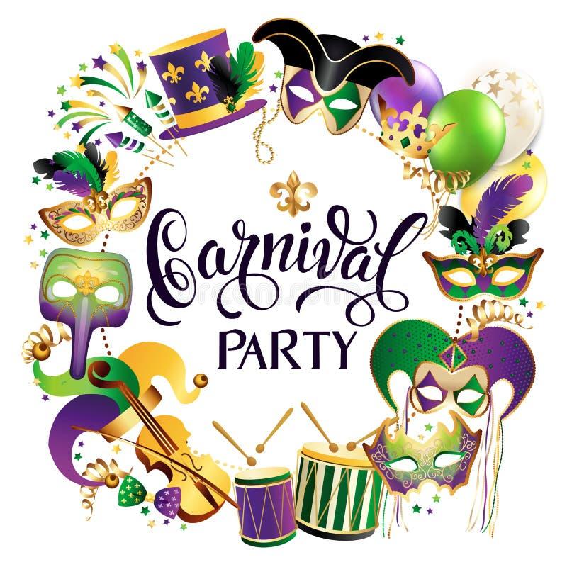 Rahmen-Schablone mit goldenen Karnevals-Masken auf schwarzem Hintergrund Funkelnde Feier-festliche Grenze Vektor lizenzfreie abbildung