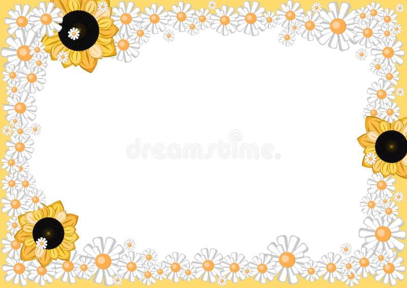 Rahmen von Karikaturgänseblümchen und -sonnenblumen vektor abbildung
