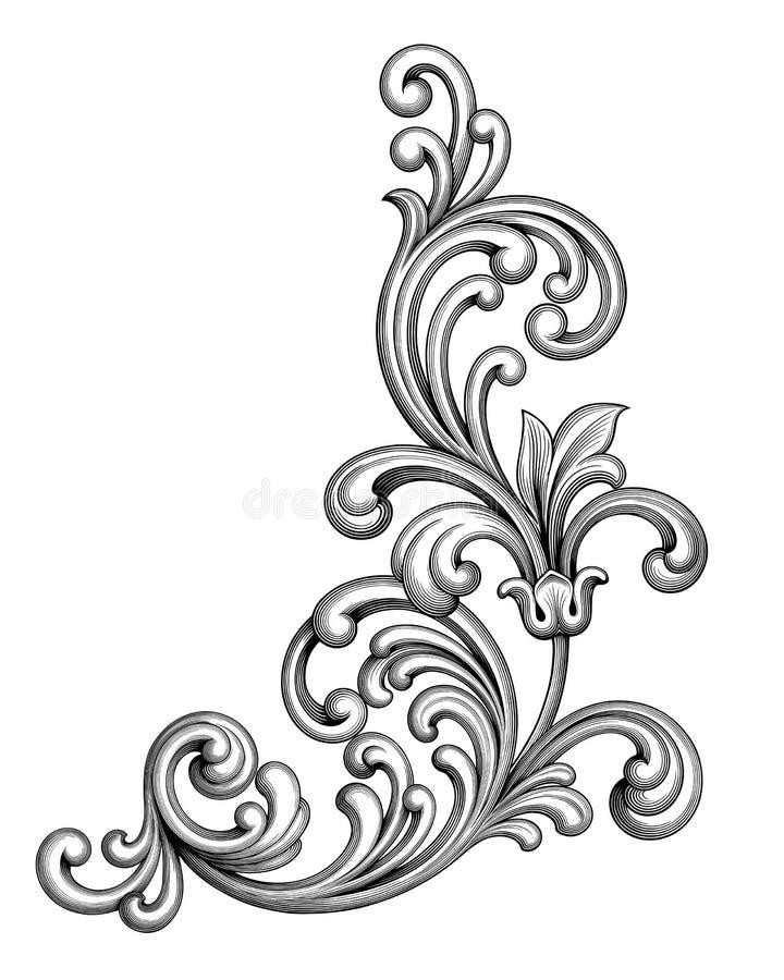Rahmengrenzmonogramm-Blumenverzierungsrolle der Weinlese gravierte barocke viktorianische die Retro- kalligraphische Mustertätowi lizenzfreie abbildung