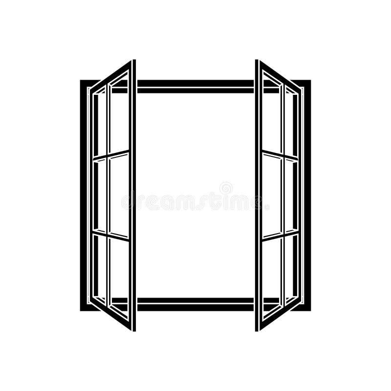 Rahmenikone des offenen Fensters lizenzfreie abbildung