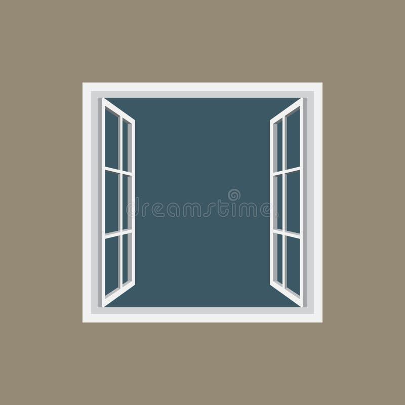 Rahmenikone des offenen Fensters vektor abbildung