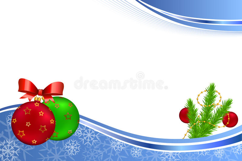 Rahmenillustration des abstrakten blauen neues Jahr des Hintergrundes Balls Weihnachtsrote grüne gelbes Gold lizenzfreie abbildung