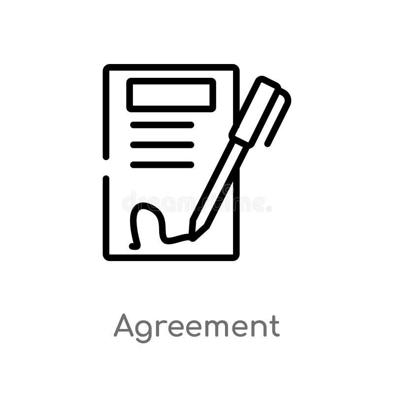 Rahmenvereinbarungsvektorikone lokalisiertes schwarzes einfaches Linienelementillustration vom Ethikkonzept Editable Vektoranschl lizenzfreie abbildung