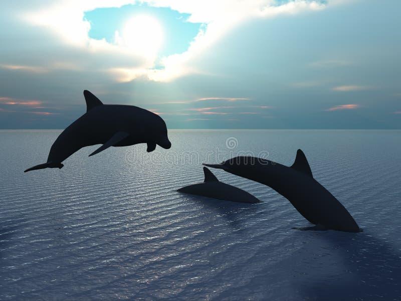 Raia do golfinho e do sol ilustração royalty free
