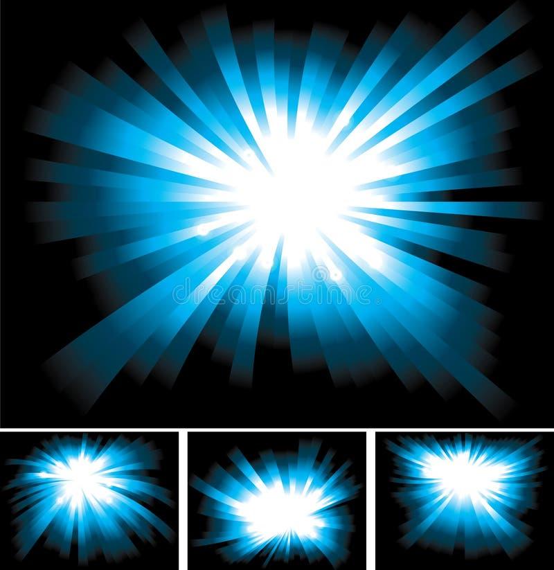 Raias claras azuis Shinning brilhantes ilustração royalty free