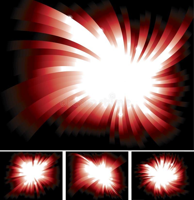 Raias claras vermelhas Shinning brilhantes ilustração stock
