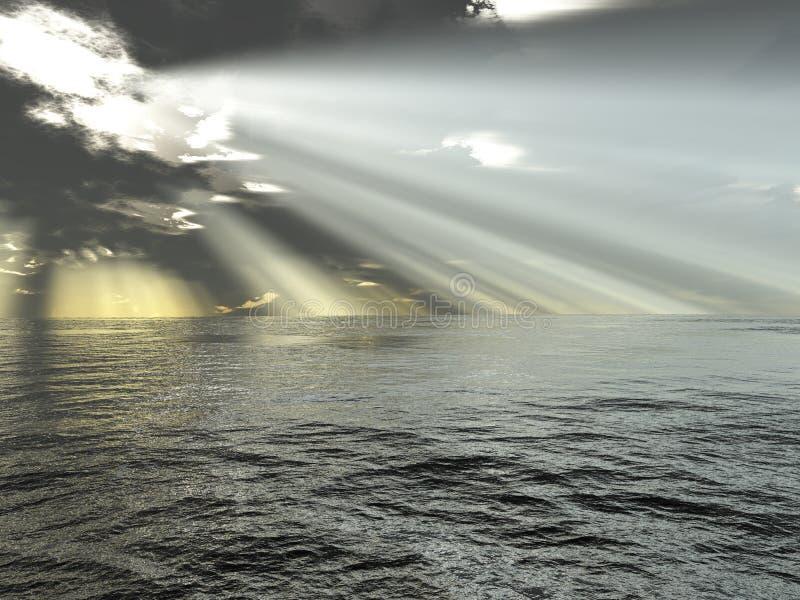 Raias de luz e de oceano ilustração royalty free