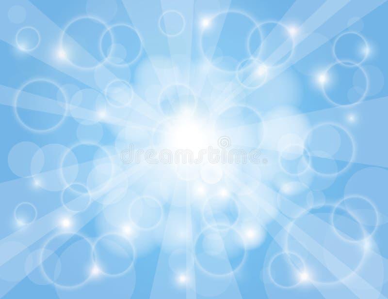 Raias de Sun com fundo do azul de céu ilustração do vetor