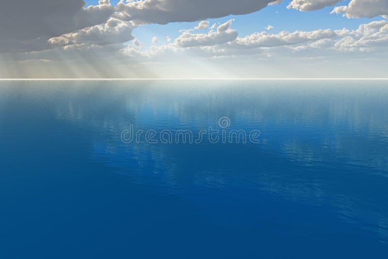 Raias de Sun no oceano ilustração do vetor