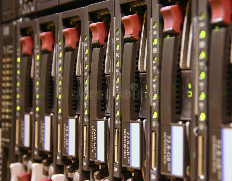 RAID drives. Close up of a server RAID rack