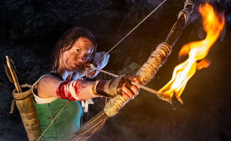 Raider della tomba Ritratto della donna, carattere del tipo di piccola fattoria di Lara immagini stock