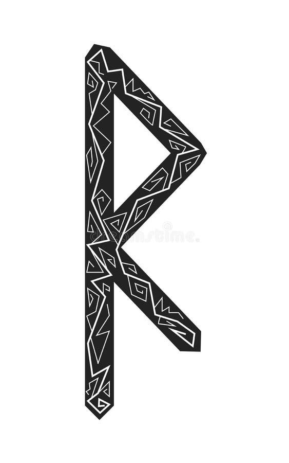 Raido rune. Ancient Scandinavian runes. Runes senior futarka. Magic, ceremonies, religious symbols. Predictions and amulets. Ornament lightning. White vector illustration