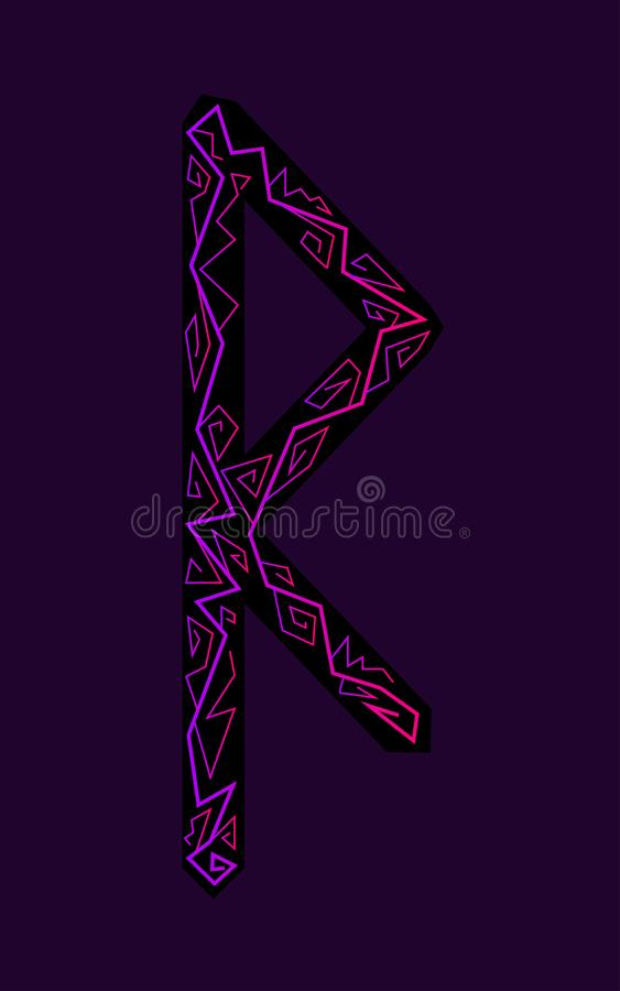 Raido rune. Ancient Scandinavian runes. Runes senior futarka. Magic, ceremonies, religious symbols. Predictions and amulets. Ornament lightning. Dark stock illustration