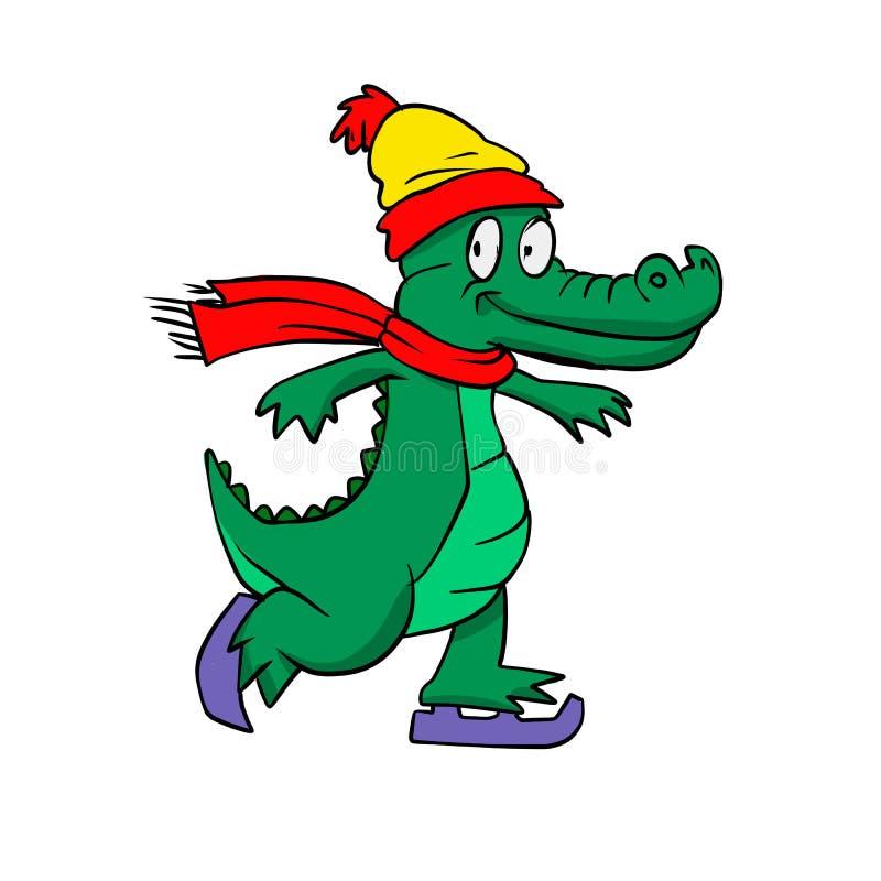 Raies de rouleau de marche d'alligator de bande dessinée illustration stock