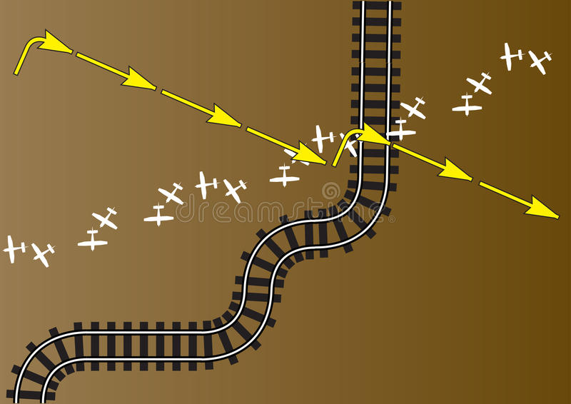 Rail and air route. A background illustrating rail and air route royalty free illustration