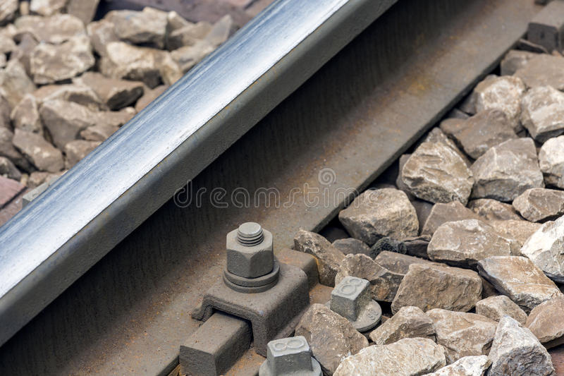 Rail and bolt. Of a railway track shown closeup stock photography