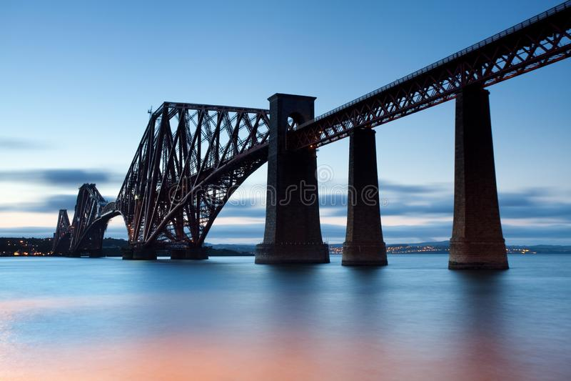 Rail Bridge over The Firth of Forth, crossing between Fife and Edinburgh at dusk, Scotland. morning scene. UK royalty free stock photos