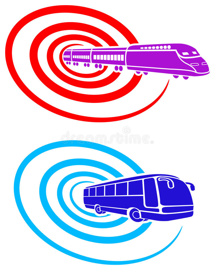 Rail and bus logo designs. Rail and bus isolated line art silhouette logo designs royalty free illustration