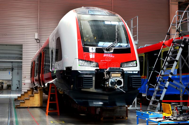 Rail car assembly plant `Stadler Minsk` is busy making comfortable electrical trains FLIRT for for Norwegian state railway NSB stock images