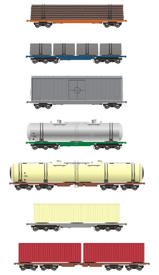 Rail cargo cars. Illustration of rail cars vector set vector illustration