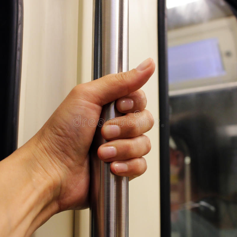 rail in the carriage train on the Moscow Metro royalty free stock photos