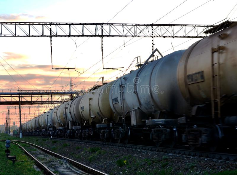 Rail cars carry crude oil and ethanol. stock photos