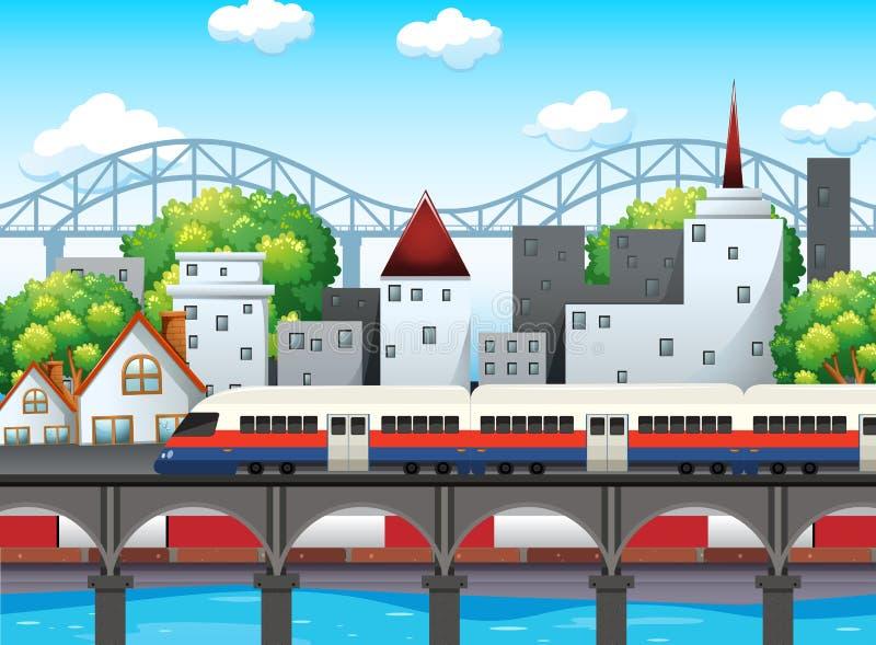 A rail in city scene. Illustration vector illustration