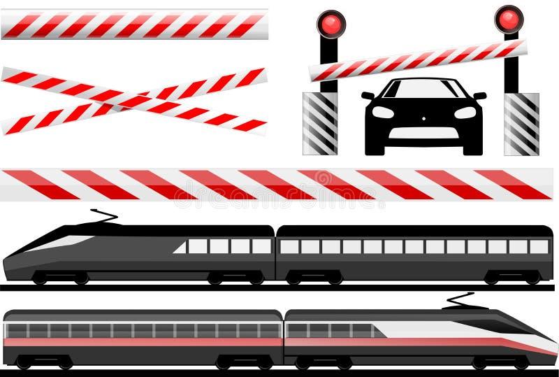 Rail crossing. Essential illustration that describes rail crossing and trains stock illustration