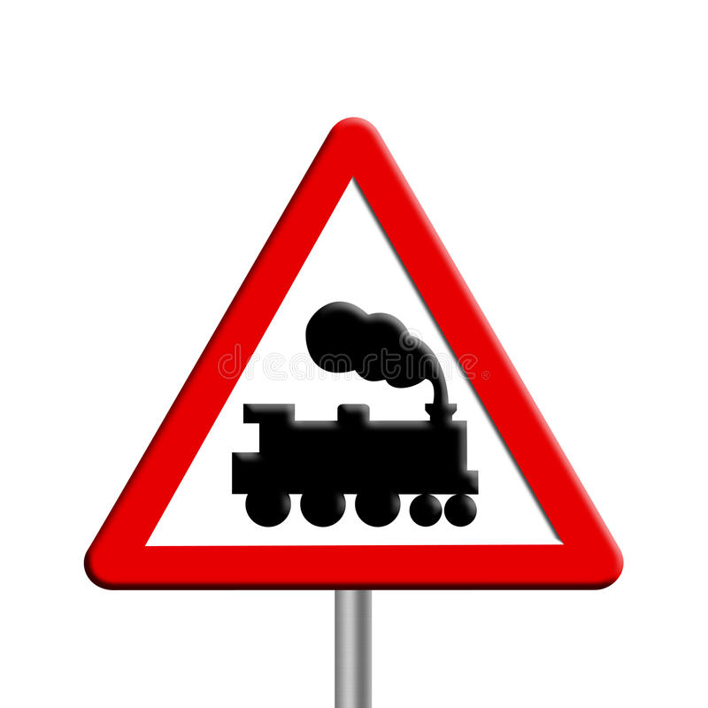 Rail crossing - road sign. On white background stock illustration