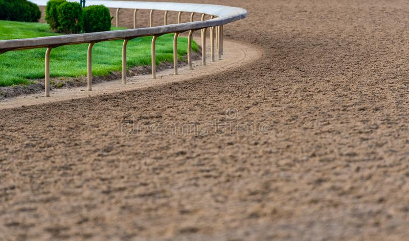 Rail At The Curve of Horse Track stock images
