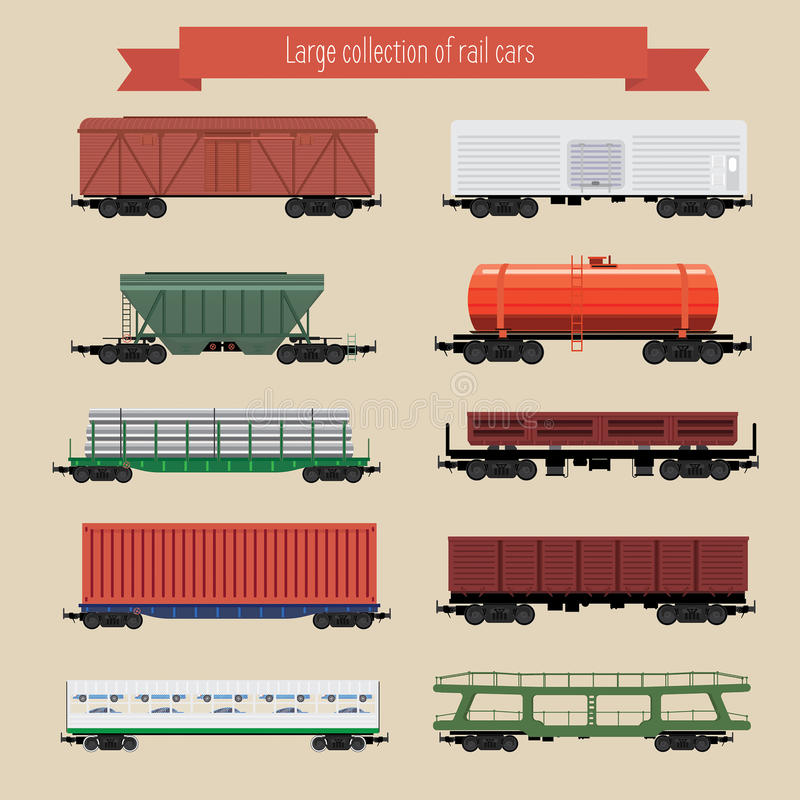 Rail freight wagons. Large collection of rail freight wagons. Ten different types of cars include freight cars, dump-car, open wagon, road cars, refrigerators stock illustration