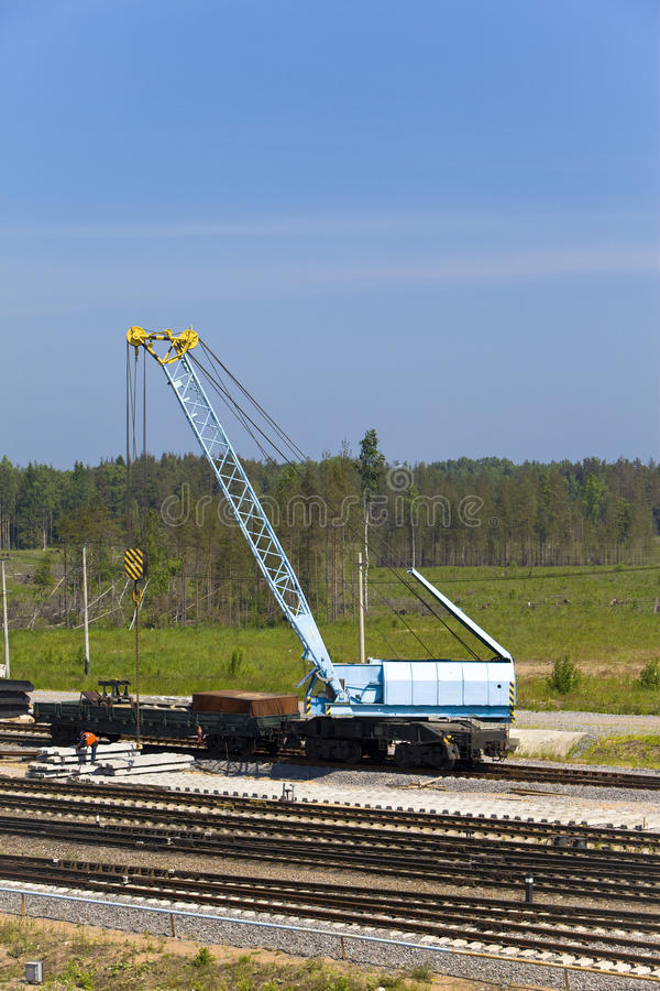 Rail gantry crane. Building rail gantry crane behind work stock images