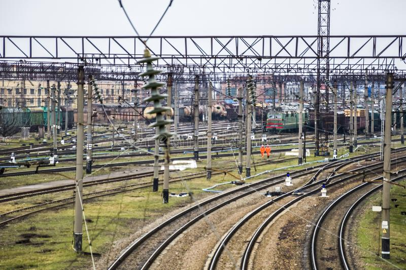 rail junction with many rail royalty free stock photography