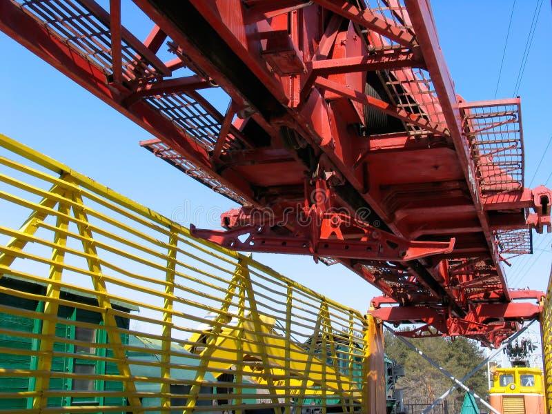 Rail-laying crane royalty free stock photography