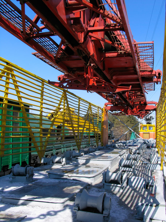 Rail-laying crane royalty free stock images