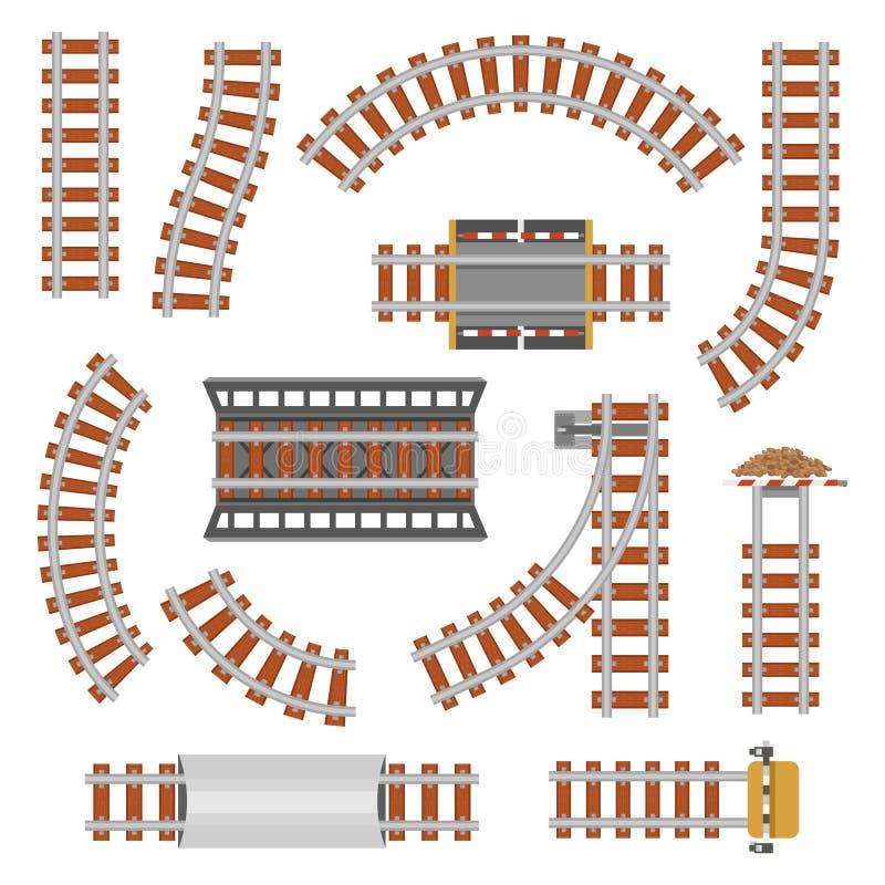 Rail or railroad, railway top view. stock illustration