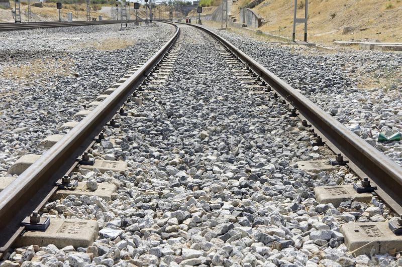 Download Rail road stock image. Image of rail, stone, ballast - 26648993