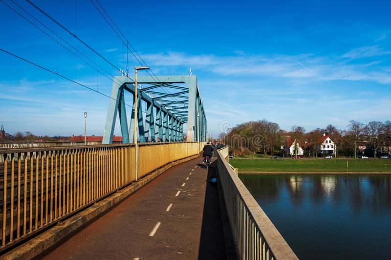 Rail road bridge in Deventer royalty free stock photo