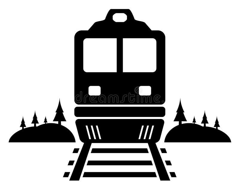 Rail road icon with moving train. Rail road black icon with moving train vector illustration