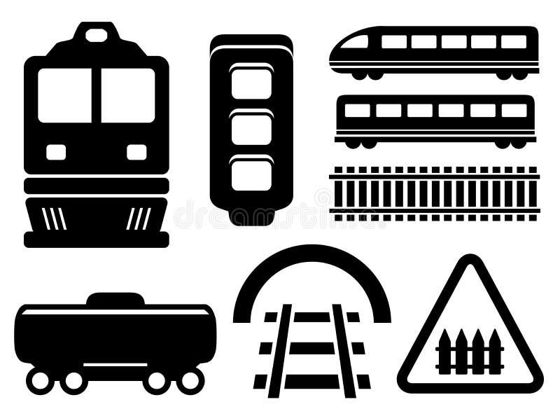 Rail road icons set stock illustration