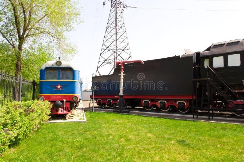 Rail road locomotive. Photo of Russian rail road locomotive in Samara stock photo