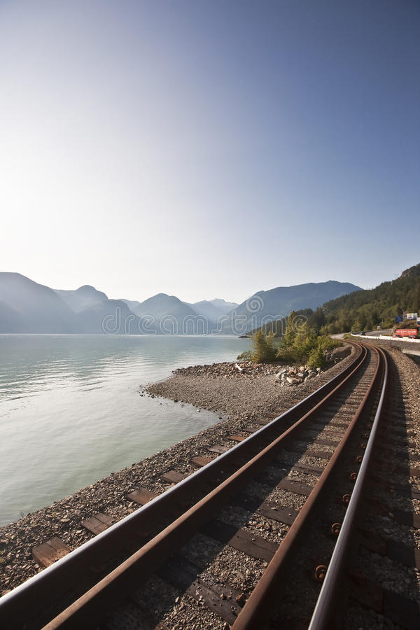 Rail road tracks. Leading to Whistler British Colubia Canada royalty free stock image