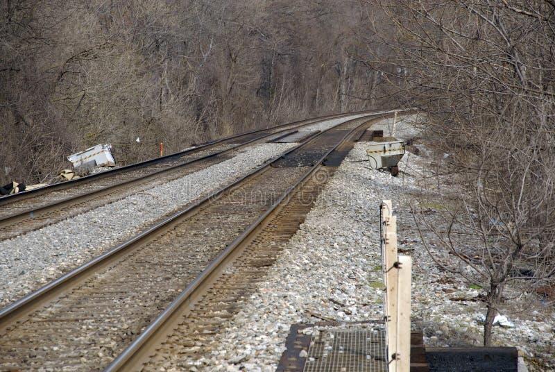 Rail road tracks  near Laurel in Maryland. Railroad tracks scenic, nears train station in Laurel, Maryland royalty free stock photos