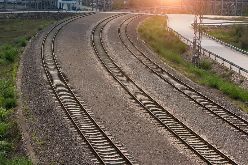 Rail Road Tracks. Outdoor industrial stock photography