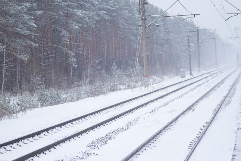 rail road winter stock photography