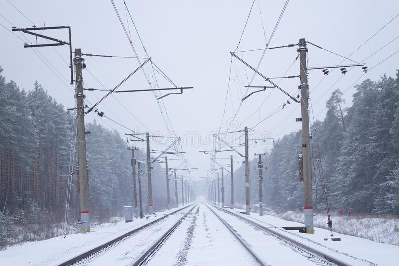 rail road winter stock photo