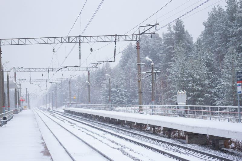 rail road winter royalty free stock photo